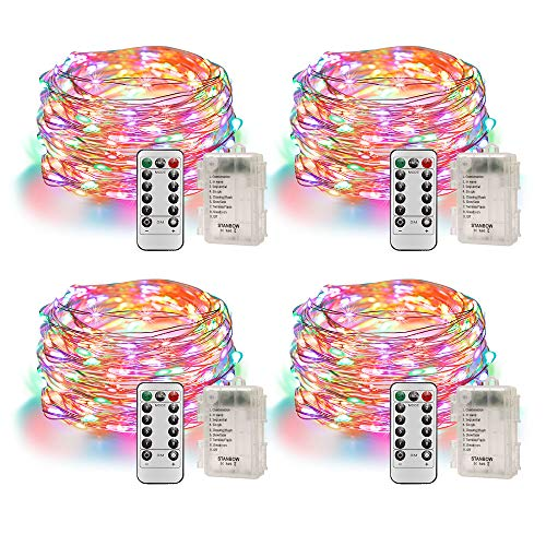 Led Lichterkette Batterie 5m Kupferdraht IP65 Wasserdicht Lichterketten mit Fernbedienung Innen Außen Mehrfarbig Fairy Lights für Zimmer, Party, Hochzeit, Weihnachten usw. (4 Stück/Bunt)