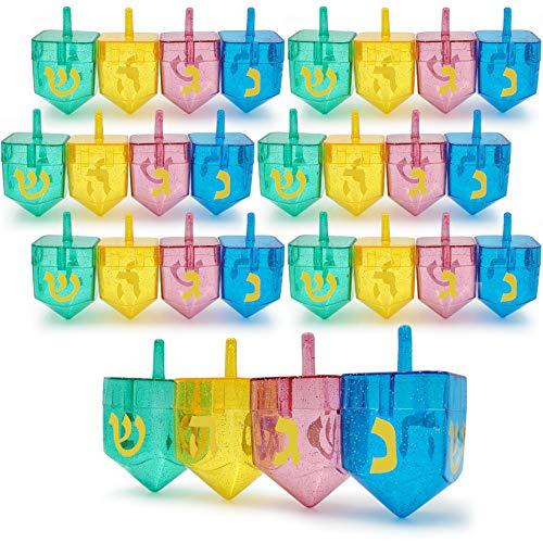 Hanukkah Fillable Dreidel Assorted Colors Can Be Filled with Hanukkah Gelt Or Hanukkah Chocolate (24-Pack)