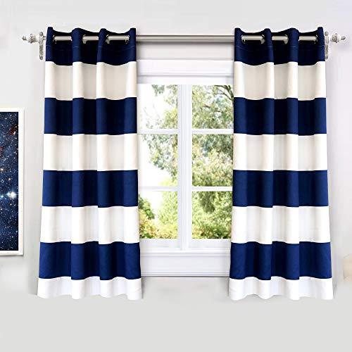 DriftAway Mia Stripe Room Darkening Grommet Unlined Window Curtains 2 Panels Each 52 Inch by 54 Inch Navy