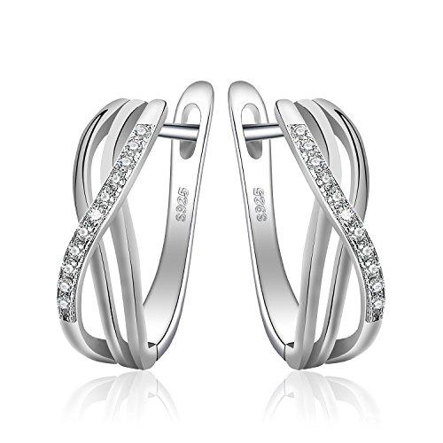 JewelryPalace Unendlichkeit Knoten Zirkonia Jahrestag Creolen Silber 925 Huggie Hoop Ohrringe Sterling Silber