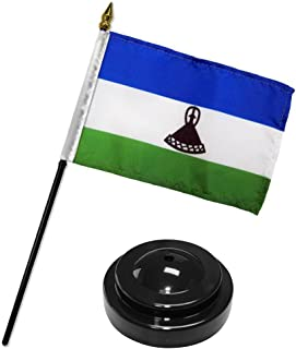 ALBATROS Lesotho 4 inch x 6 inch Flag Desk Set Table Stick with Black Base for Home and Parades, Official Party, All Weather Indoors Outdoors
