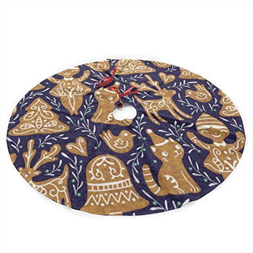 TUYUFBAGS Lebkuchen-Blauer Stoff Weihnachtsbaumdecke Weihnachtsbaum Rock Weihnachtsbaum Decke Christbaumständer Teppich, Weihnachtsdeko für Weihnachtsfeiertag 90CM