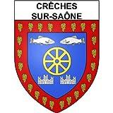 Crêches-sur-Saône 71 ville Stickers blason autocollant adhésif - Taille : 17 cm