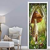 FGHXYNB 3D Mural Puerta Fondo Pantalla Cristal Poster Casa De Setas Del Bosque De Dibujos Animados Armario Decoración Hogar Vinilo 80X200 Cm Nfantiles Guardería Niños Extraíble Sala Estar Espacio