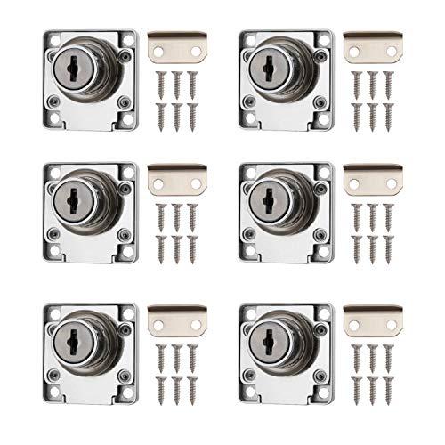 Ruesious 6 Pcs serratura cassetto, serratura cassettiera ufficio in lega di zinco da 22 mm, serratura per armadietto, mobili, credenza ect