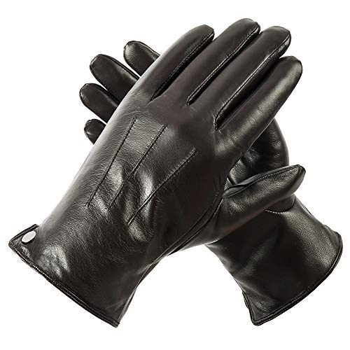 Men's touchscreen Nappa Geniune Leather Gloves Winter Warm Driving Cashmere Lining Brown-fleece L