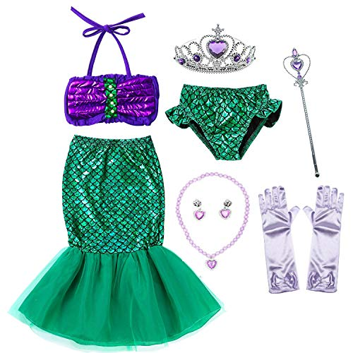 Party Chili Princess Mermaid Costume Birthday Party Dress for Little Girls 5-6 Years (5T 6T)