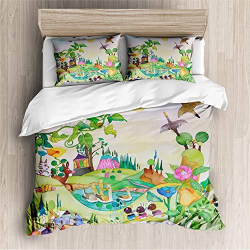 Timiany Kinder Cartoon Bettwäsche-Set,Wald Tiere Giraffe,Fuchs,Fisch,Bauernhof-Motiv Mikrofaser Bettbezug+Kissenbezug 50×75cm Mädchen Junge Blau/grün (Bauernhof,220x240+80x80)