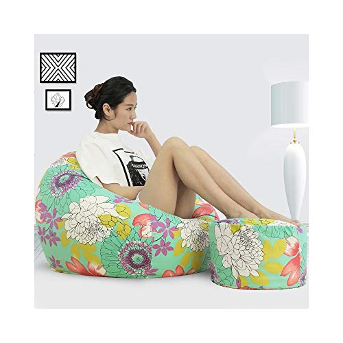 ZYLE Bean Bag Lazy Sofa Single Tatami Cotton and Linen Seat Bedroom Living Room Creative Fashion Backrest Sofa A Variety of Styles Removable And Washable (Color : Hundred flowers, Size : XXL)