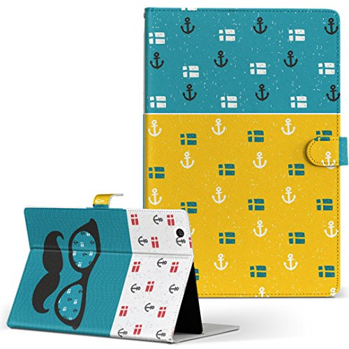 igcase KYT33 Qua tab QZ10 キュアタブ quatabqz10 手帳型 タブレットケース カバー レザー フリップ ダイアリー 二つ折り 革 直接貼り付けタイプ 012750 サングラス ヒゲ いかり