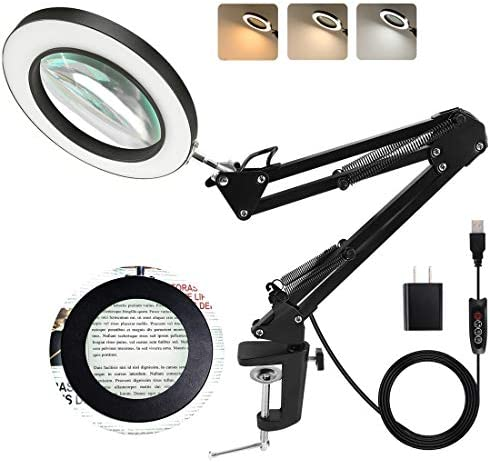 LANCOSC Magnifying Glass with Light and Stand 3 Color Modes Stepless Dimmable 5 Diopter Glass product image