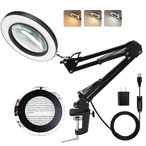 LANCOSC Magnifying Glass with Light and Stand, 3 Color Modes Stepless Dimmable, 5-Diopter Glass Lens, Adjustable Swivel Arm, LED Magnifier Desk Lamp for Close Work, Repair, Crafts, Reading - Black