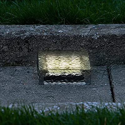 Solar Brick LED Landscape Light, Warm White, 6x6 Size, Glass, Waterproof, Outdoor Use, Solar Panel & Rechargeable Battery Included