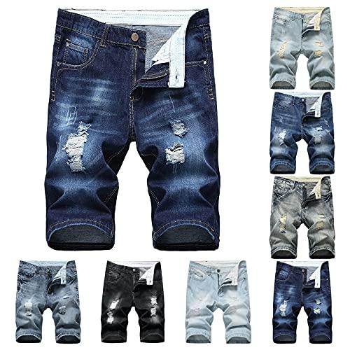 JIAYOUA Herren Destroyed Fit Denim Strech Baumwolle Gerade Loch Tasche Hose Distressed Jeans Shorts, Billige lockere Herrenmode Stretchhosen Wanderhosen Schlabber Bügelfaltenhose mit Taschen