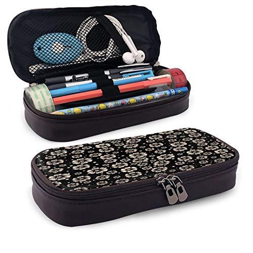 Estuche de cuero de gran capacidad para lápices de estudiantes, caja de papelería, bolsa de almacenamiento