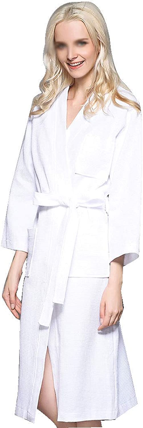 HONGNA Spring and Summer Couple Bathrobe Waffle Thin Section Cotton Pajamas Sauna Bathrobe Beauty Salon Bathrobe (color   White, Size   S)