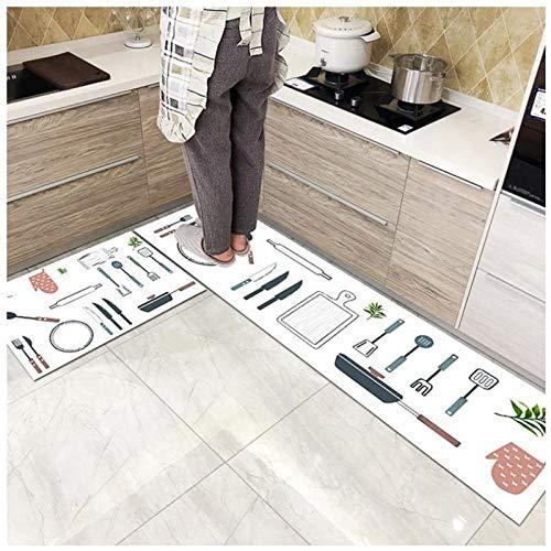 OPLJ Moderno Antideslizante hogar Cocina Estera Dormitorio Dibujos Animados Suave Alfombra Pasillo Puerta Alfombra Entrada balcón Hotel Alfombra A1 50x80cm + 50x160cm