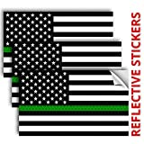 """✔ THREE PACK: Includes 3 - 5"""" x 3"""" reflective america flag stickers, black green and white color. ✔ REFLECTIVE AT NIGHT - They look great during the day and even better at night! *They are NOT a flashlight* ✔ INDOOR & OUTDOOR - Can be used on various..."""
