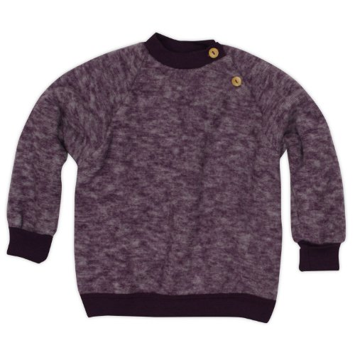 Cosilana Baby Woll-Fleece Pulli, Größe 50/56, Farbe Lila-Melange, Wollfleece 100% Schurwolle kbT