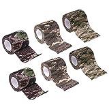 XYF tarnband selbsthaftend, Camouflage Tape, Outdoor Tarnband Camo Stretch Bandage mehrfach verwendbar für Taschenlampe, Teleskop, Fahrrad, Angler(5CMx4.5M)