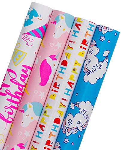 WRAPAHOLIC Birthday Wrapping Paper Roll - Rainbow Pony Party Time with Cut Lines - 4 Rolls - 30 inch X 120 inch Per Roll
