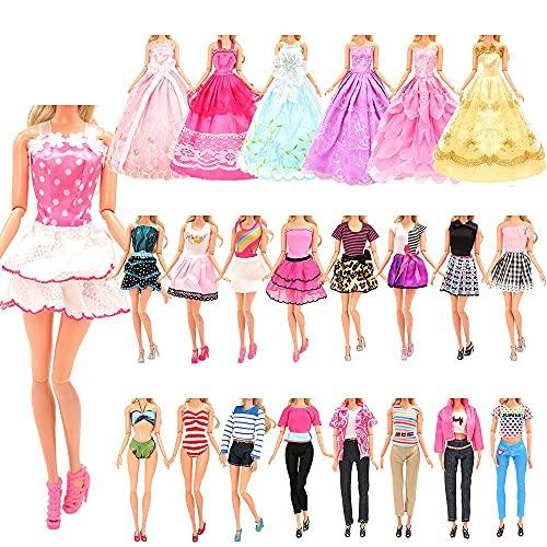 Miunana 20 Kleidung für Puppen = 2 Kleider + 2 Tops + 2 Hosen + 2 Abendkleider + 2 Badenanzüge + 10 Schuhe für 11,5 Zoll Mädchen Puppen