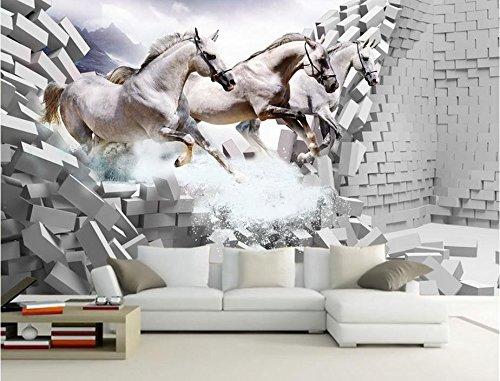 WH-PORP Personalizar 3D Papel pintado Wall Brick White Horse Gallop Papeles Decoración de la sala de estar-400cmx280cm