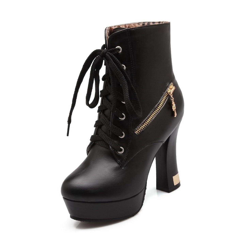 解決服降下A&N 女性 プラットフォーム ラウンドトゥ クロスストラップ ブラック Puの皮 ブーツ?ブーティ - 21.5cm