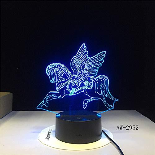 Have Wings Unicorn Horse Horse Amazing Night Light 3D LED USB Lámpara de mesa niños regalo de cumpleaños decoración de la habitación junto a la cama