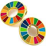 SDGsのバッジ SDGs ピンバッジ (2個セット) 国連 SDGs バッジ ピンバッチ バッヂ 珐琅彩 七宝焼 ゴールド 2020 最新仕様 精巧な細工 傷防止 国連本部限定販売 ピンバッジの留め具 8個 人気 おしゃれ ギフト
