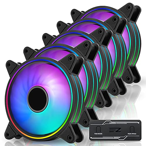 EZDIY-FAB Moonlight 120mm RGB PWM Ventole di Caso con RGB PWM Fan Hub,Sincronizzazione Scheda Madre 5V,ARGB Ventilatore del Computer,Modalità di Luce Multiple-5 Pack