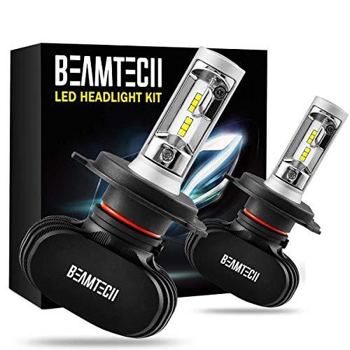 BEAMTECH H4 LED Faro Lampadine, 9003 HB2 Auto Alogene HID Xenon Sostituzione Lampadine Abbaglianti e Anabbaglianti CSP Kit 50W 6500K 8000LM Bianco(2 PCS)
