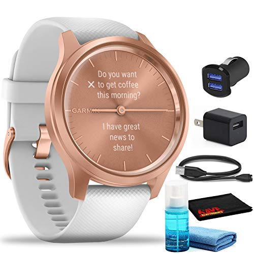 Garmin vivomove Style Hybrid Smartwatch (42mm, Rose Gold Aluminum Case, Silicone) with USB Adapters and Cleaning Kit