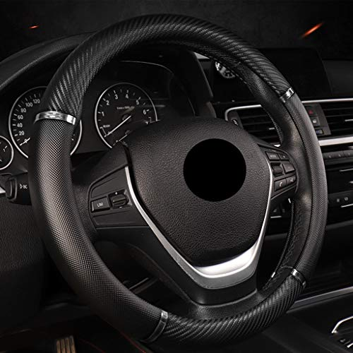 FXPT1201 Universal Auto Lenkradschoner Lenkrad Abdeckung, Lenkradbezug, Carbon-Faser-Leder-Lenkrad-Hülsen-Universal-15-Zoll-Anti-Rutsch-Schutz Anti Rutsch Lenkradabdeckung (Color : Black Silver)