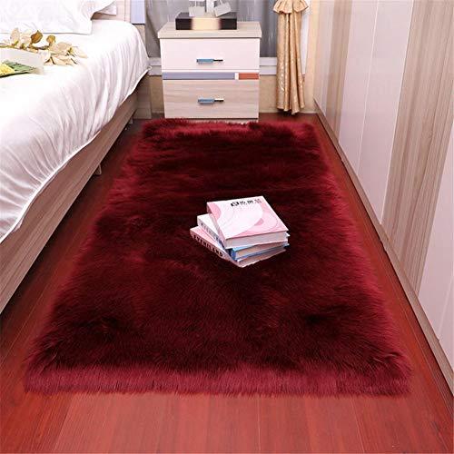 RUGMYW Preisgünstige Teppich Flur Roter Plüsch teppiche für Wohnzimmer Fellimitat Teppich 60X180cm