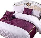 YIH Bufanda de cama de 180 x 50 cm, diseño floral, color morado, para dormitorio, hotel, boda, sala de mascotas, protector para cama, 1 camino de cama + 2 fundas de almohada