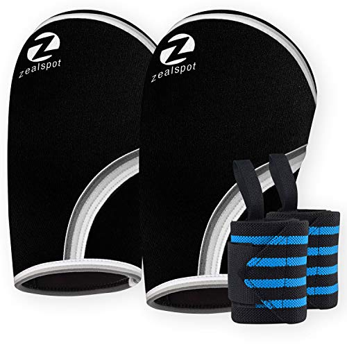 Elbow Sleeves (Pair) with Heavy Duty Wrist Wraps-Support, Compression for Weightlifting, Powerlifting, Crossfit,Bench Press and Tennis-5mm Neoprene Brace for Both Women,Men, Black(XL)