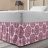Ambesonne Purple Mandala Elastic Bed Skirt, Shabby Form Lotus Flower Style Meditation Essence Pattern, Wrap Around Fabric Bedskirt Dust Ruffle for Bedroom, Twin/Twin XL, Lime Green Fuchsia