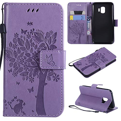 Lacass for Galaxy J2 Core J2 Shine J2 2019 Case, Cat Tree Pattern PU Leather Flip Wallet Case Cover Kickstand with Card Slots and Wrist Strap Compatible with Samsung Galaxy J2 Pure (Light Purple)