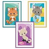 HappyWords® 3er Bilder Set - DIN A4 ohne Bilderrahmen   Bilder für Kinderzimmer & Bilder Babyzimmer   Junge Mädchen Baby   Kinder-Poster   Tiere Kinderbilder Kinderzimmer   3er Set Katzenbabys 1' #24