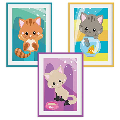 """HappyWords® 3er Bilder Set - DIN A4 ohne Bilderrahmen   Bilder für Kinderzimmer & Bilder Babyzimmer   Junge Mädchen Baby   Kinder-Poster   Tiere Kinderbilder Kinderzimmer   3er Set Katzenbabys 1"""" #24"""
