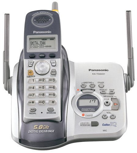 Panasonic KX-TG5431S 5.8 GHz DSS Cordless Phone with Answering System (Silver/White