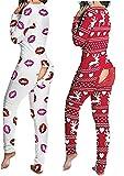 Cuello en V profundo Divertido Impresión Mono Peleles Botones Pijamas Estiramiento de Navidad Bodis Cortos Pijama Sexy Mujer Mono Señora Pijama Traje Espalda Culo Abierto Culo-Navidad Rojo_Grande