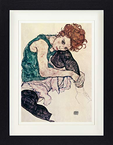 1art1 Egon Schiele - Die Frau des Künstlers, Sitzende Frau, 1917 Gerahmtes Bild Mit Edlem Passepartout | Wand-Bilder | Kunstdruck Poster Im Bilderrahmen 40 x 30 cm