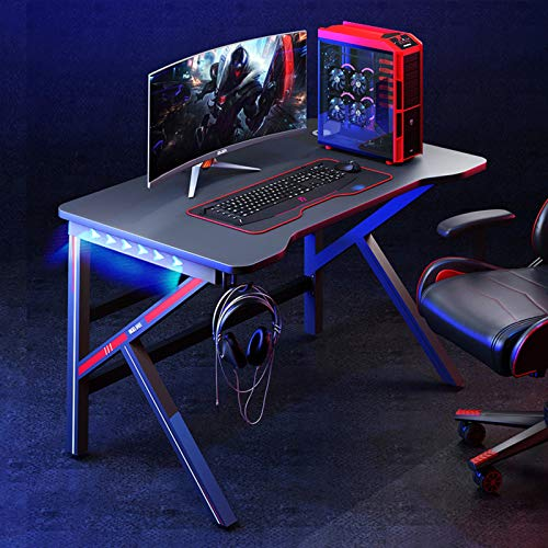 XM&LZ Moderno Fibra De Carbono Mesa Gaming con Luces Led RGB,Ergonómica Escritura Mesa De Estudio con Gancho para Auriculares,Casa Pc Escritorio De Oficiana Estación-D 100x60x75cm(39x24x30inch)