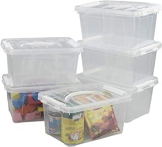 Minekkyes Lot de 6 Caisses de Rangement, Boîte en Plastique avec Poignées (Blanc)