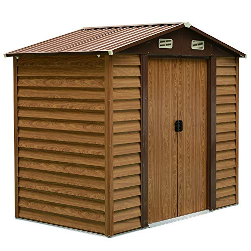 Outsunny 8ft x 6ft Outdoor Metal Garden Shed House Hut Gardening Tool Storage with Foundation and Ventilation Brown 236L...