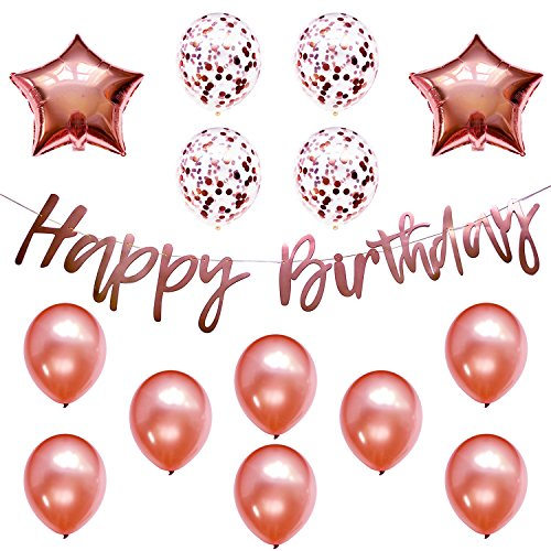 Rose Gold Party Decorations w/Pre-Strung Happy Birthday Banner, 8 Latex, 4 Confetti, 2 Star Mylar Balloons, Decorations Supplies Bundle Set for Girls Women, 13th 16th 21st 25th 30th 40th
