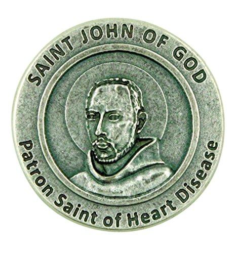 Lumen Mundi Patron Saint of Heart Disease St John of God Pocket Token with Prayer Back