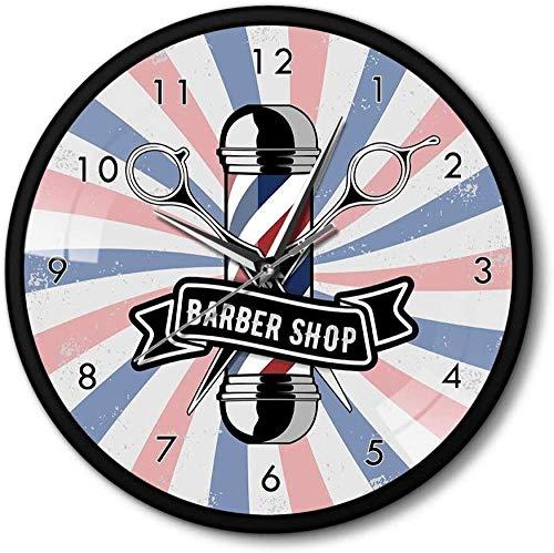 Reloj De Pared Barbershop Logo Peluquería Hierro Reloj De Pared Marco De Metal Decoración De La Habitación Barba Bigote Hombre Estilo Reloj 30X30 Cm